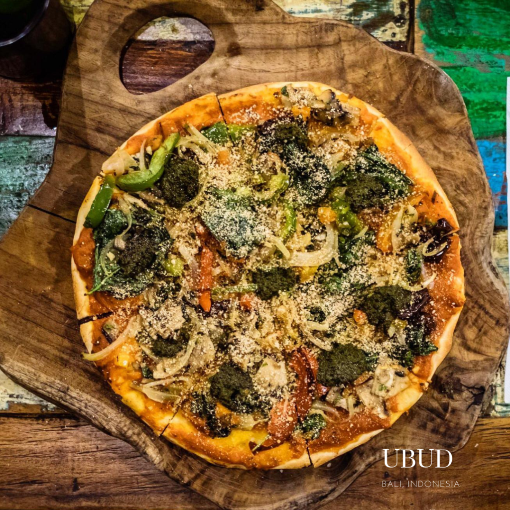 Gluten free pizza at Atman cafe Ubud