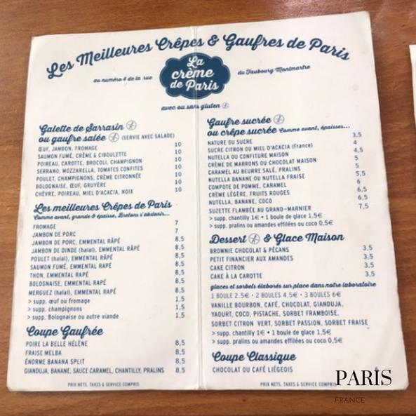 La creme de Paris Menu: gluten free crepes in Paris