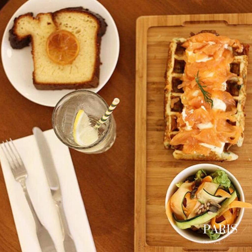 La creme de paris salmon waffles: gluten free crepes in Paris