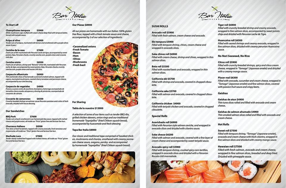 Bar Italia menu 2