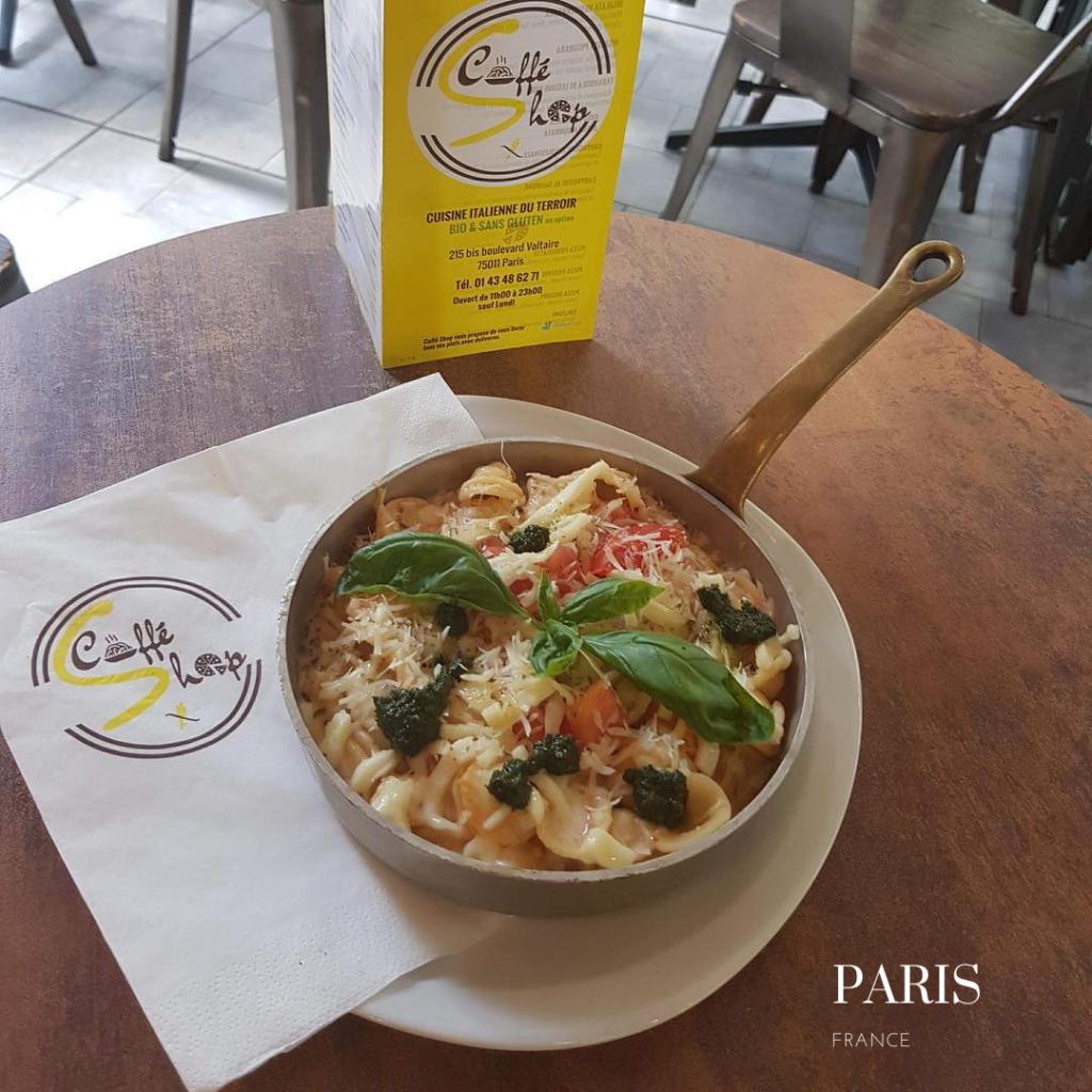 gluten free pasta in Paris Caffe shop