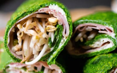 Gluten-free and lactose-free spinach wraps
